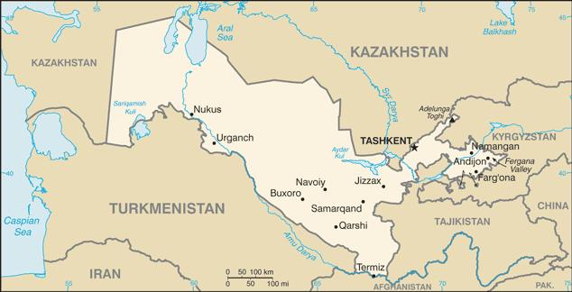 Uzbekistan - Państwo podwójnie śródlądowe.