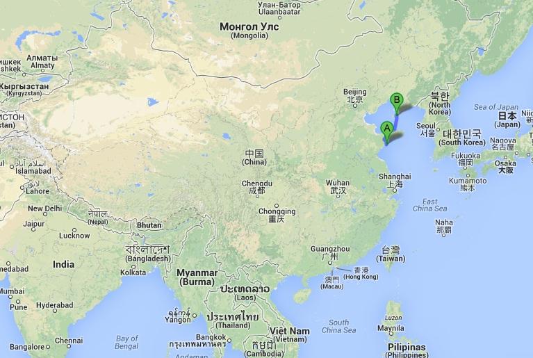 Położenie miast: Qingdao i Dalian