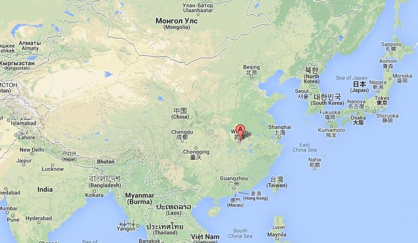 Położenie miasta Wuhan.