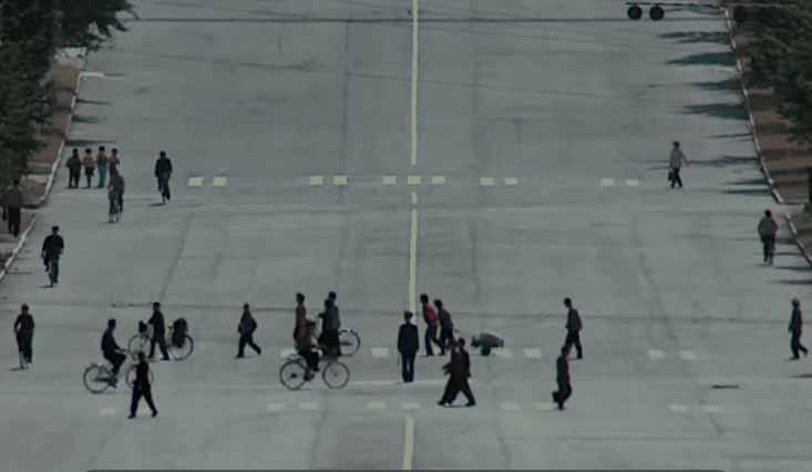 Ulice bez samochodów w Korei Północnej.