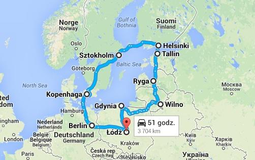 Balticum 2014 - mapa wyprawy.