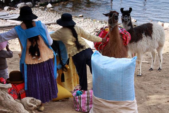 Na obleganej przez turystów wyspie Isla del Sol na jeziorze Titicaca jest szansa sprzedaży wyrobów własnych